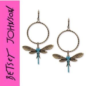 Betsey Johnson Crystal Dragonfly Gypsy Earrings